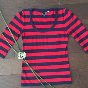 French Connection Red Navy Stripe Top